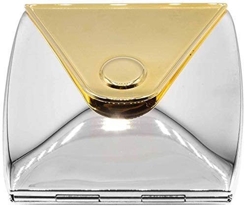 Shaped Mirror Purse Compact - Gold/Silver Envelope Shaped Folding Compact Pocket Makeup Mirror Double Sided (5x magnification + 1x magnification)