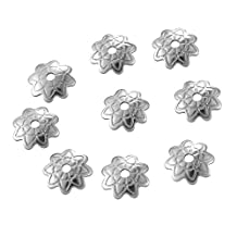 HooAMI Stainless Steel Flower Beads Cap Connector Jewelry Making Findings Silver Tone 7mmx1.5mm,10pcs