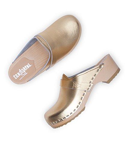 Sandgrens Swedish Low Heel Wooden Clog Mules For Women | Sandgrens Svenske Lav Hæl Træsko Muldyr For Kvinder | Tokyo Metallic Gold Tokyo Metallisk Guld jCnt130Pe