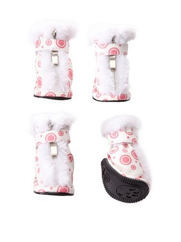 Pet Life Ultra Fur Comfort Year Round Protective Boots (features 3M Thinsulate): Pink/White Design, Large