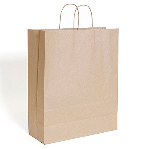 Kraft Paper Shopping Bags With Handles Bulk Grocery 16x6x19 Retail Display Store Brown Pack of 200 NEW by Bentley's Display