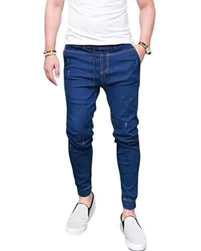 Da Moda Jeans Uomo Dunkelblau Casual Jeggings Di Fit Vintage Pantaloni Slim Denim 6Fqwzw54
