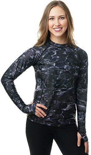 Aqua Design Womens Rash Guard Long Sleeve - Swim Shirt Rashguard for Women Black Water: Size 2XL