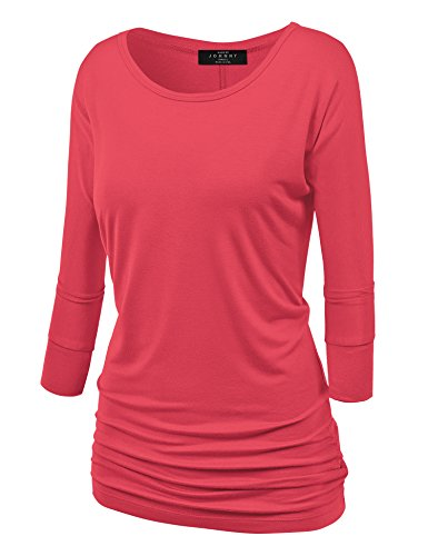 Made By Johnny WT822 Womens 3/4 Sleeve with Drape Top S Coral by Made By Johnny