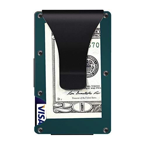 Aluminum Metal Wallet Front Pocket Minimalist Wallet & Money Clip Slim Wallet RFID Blocking (Dark Cyan)