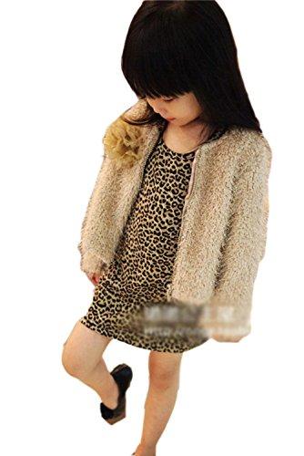 PanDaDa Girls Leopard Dress Long Top T-shirts Crewneck Long Sleeves Partywear