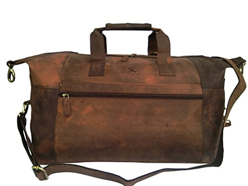 VINTAGE COUTURE Buffalo Leather Duffel Bag Travel Weekend Tote Shoulder Bag ()