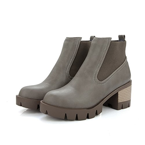 AllhqFashion Womens Soft Material Pull-On Round Closed Toe Kitten Heels Low Top Boots Gray fMxvT8ik