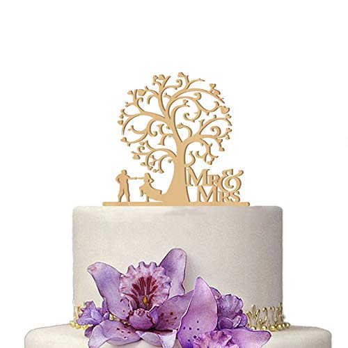 Romantic Wooden Mr and Mrs Wedding Cake Topper Cake Picks for Wedding Party Cake Decoration Supplies (Tree) (Cheap Wedding Cake Toppers)