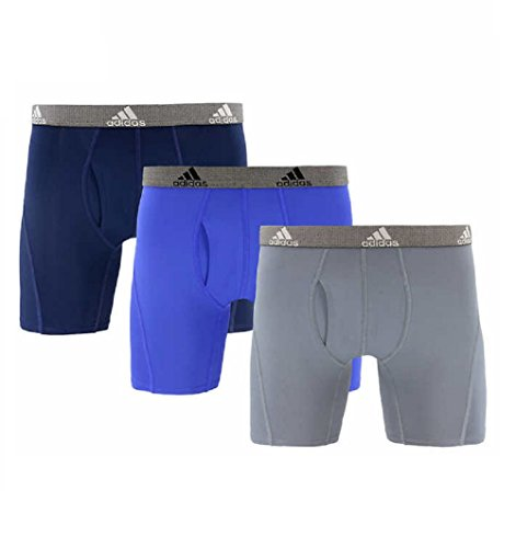 adidas Mens Relaxed Performance Quick Dry Climate Boxer Brief Underwear (3 Pack) (Navy-Blue-Grey, Large)