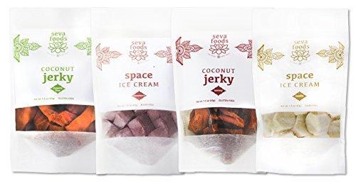 Sampler 4-Pack: Vanilla Space Ice Kream, Strawberry Space Ice Kream, Savory Coconut Jerky, Chipotle Coconut Jerky Healthy Snack Hiking Travel Organic Soy Free Sugar Free Kids Gourmet Enjoy Seva Foods