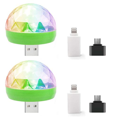 2pcs USB Party Lights Mini Disco Ball,Led Small Magic Ball Sound Control DJ Stage Light Colorful Strobe RGB Lamp for Christmas/Brithday/Wedding/Club/Karaoke Decorations,Suitable for Mobile Phones