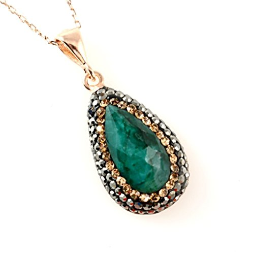 Emerald Circle Pendant - Rose Gold Plated Sterling Silver Natural Teardrop Green Emerald with Crystals Handmade Pendant 18'' Chain