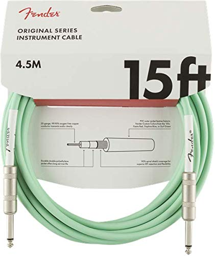 - Fender Original Series Instrument Cable for Electric Guitar, Bass Guitar, Electric Mandolin, Pro Audio - Surf Green - 15'