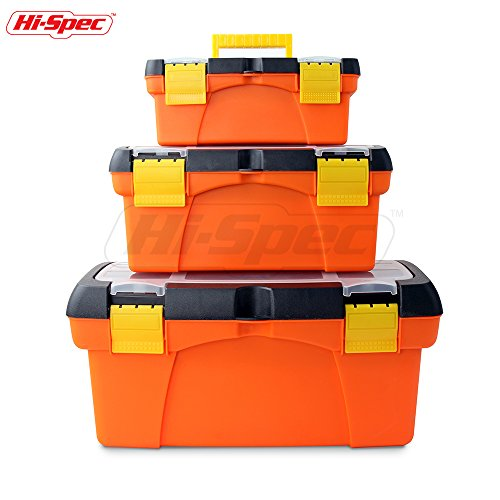 Hi-Spec Heavy Duty Tool Box Set with Parts Organiser Tray – for the Job Site, Garage & around the Home for Tools, Fishing Tackle, Arts & Crafts, Hobby Storage Equipment Box – High-Vis Orange (3 Piece)