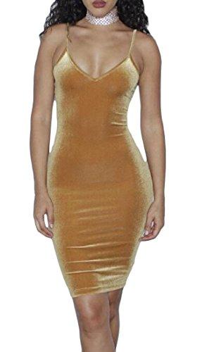 Color Tank Dresses Cami Khaki Pure Coolred Velvet Tops Bandage Women TPRcq0wp