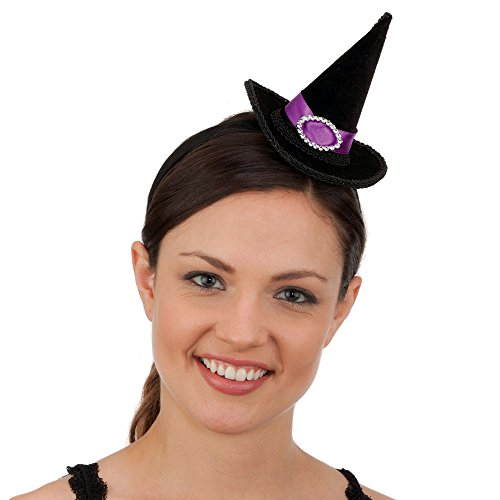 Jacobson Hat Company Black Mini Witch Hat Headband with Purple Band & Faux Rhinestone Buckle (Mini Witch Hat)