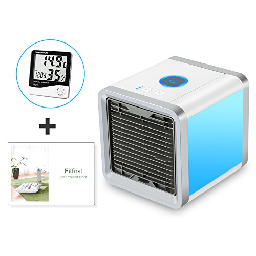 Fitfirst Personal Space Air Cooler, 3 in 1 USB Mini Portable Air Conditioner, Humidifier, Purifier and 7 Colors Nightstand, Desktop Cooling Fan for Office Home Outdoor Travel Through Any Usb