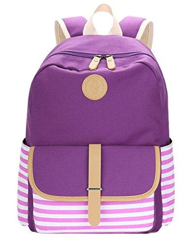 Juvenil Tipo Dato Backpacks Grand Mujer Raya Bolso Lona Moda Escolares Para Púrpura De Mochila Casual Viaje Capacidad Mochilas xB6xArv