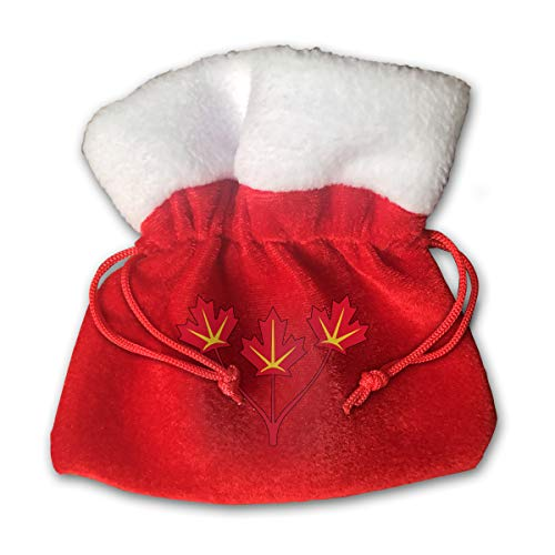 Three Maple Leaves of Canada Bags Drawstring Santa Sack Decorations (Drawstring Canada Bag)