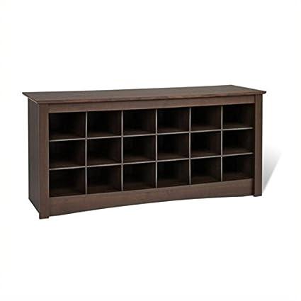 Strange Amazon Com Pemberly Row 18 Cubby Shoe Storage Bench In Evergreenethics Interior Chair Design Evergreenethicsorg