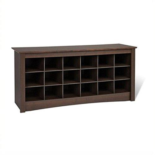 Pemberly Row Espresso Shoe Storage Cubbie Bench