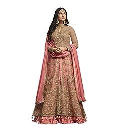 RUDRAPRAYAG Women's Net and Santoon Anarkali Gown (5407; Gajjari; Free Size)