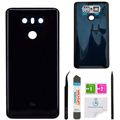 OmniRepairs Rear Battery Door Cover with Glass Camera Lens Replacement Compatible for LG G6 Model (H870, H871, H872, H873, LS993, VS998, US997) with Adhesive and Repair Toolkit (Black) ()