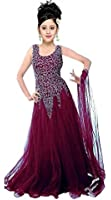 Myozz Girl's Party Wear Net Semi Stitched Free Size Lehenga Choli, Salwar suit, Gown (Comfortable to 8-12 Year Girls)