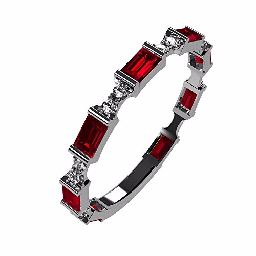 NaNa Silver Stackable Ring Baguette Cut Platinum Plated - Size 7 - Simulated Ruby - July ()