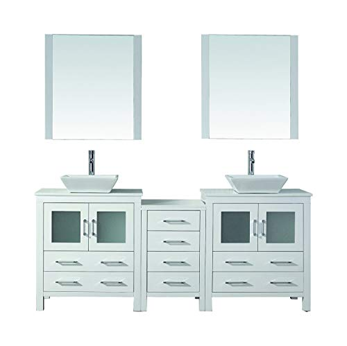 Virtu USA Dior 78 inch Double Sink Bathroom Vanity Set in White w/Square Vessel Sink, White Engineered Stone Countertop, Single Hole Polished Chrome, 2 Mirrors - KD-70078-S-WH