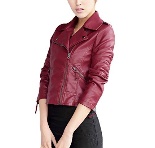 Cuir Lapel Femme Hiver Jacket Moto Jaquette Veste Courte Cuir Pu Zipper Manches Rouge Biker Vestes Longues Outwear Automne Vintage En Veste Moulante Blouson 0qRZ5PRw