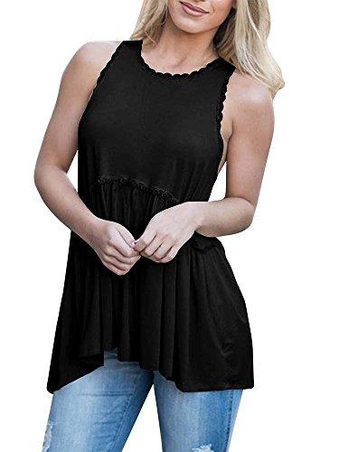 Empire Waist Cami Dress - Imily Bela Womens Empire Waist Sleeveless Tunic Shirt Trimmed Racerback Ruffle Tank Tops