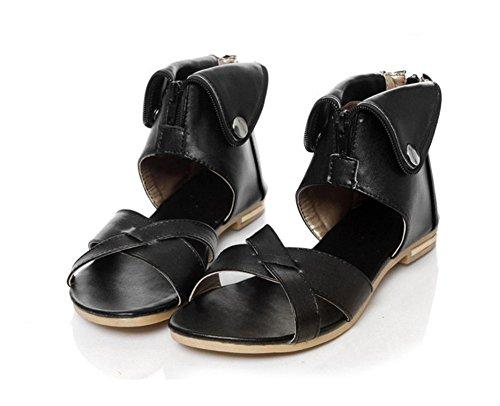Chfso Dames Rome Stijl Pu Hoge Top Rits Flats Sandalen Zwart