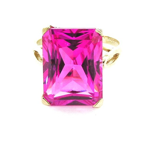 Solid 14K Yellow Gold Large 16x12mm Octagon cut Pink Cubic Zirconia CZ Ring - Size 11.75 - Sizes 5 to (Gold Large Octagon Gemstone)