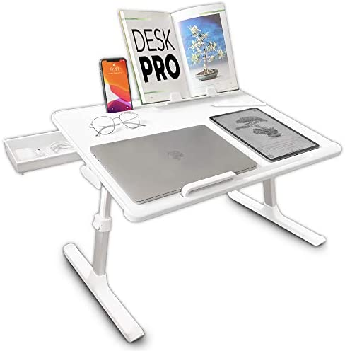 Cooper Desk PRO [XL Adjustable Folding Laptop Desk] – Height & Tilt Angle | Leather Top for Work, Study, Bed | Reading Stand, Drawer (Pearl White)