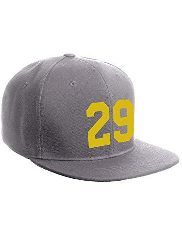 Classic Flat Bill Visor Snapback Hat Custom Color Player Team Numbers, Number 29 Gold, Grey Hat