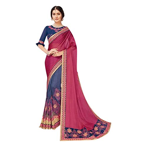 Indian Ethnic Gorgeous Georgette Saree With Ruffle Blouse Evening Party Wear Sari 7299