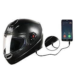 Steelbird SBA-1 HF Dashing Full Face Helmet with Plain Visor and Handsfree Device (BLACK, 580MM)