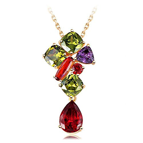 Batman Replica Costume Uk (Vicheer Crystal Love Ruby Drop Pendant Necklace Gold Necklace for Women)