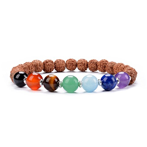 Cherry Tree Collection Natural Genuine Gemstone Chakra Stretch Bracelet | 8mm Beads, Silver Spacers | 7