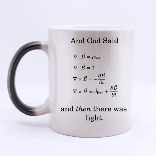 11 Ounce- Funny Novelty Mathematical Math Formulas Mug, God Said Maxwell Equations and There Was Light Color Changing Mug Morphing Coffee Mug Cup - Great Gift Item for Anyone/Christmas/Birthday