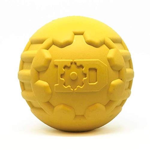 Industrial Dog by SodaPup – Natural Rubber Ultra-Durable Chew Ball – Chew Toy -Made in USA – For The Most Aggressive Chewers – Yellow – Large