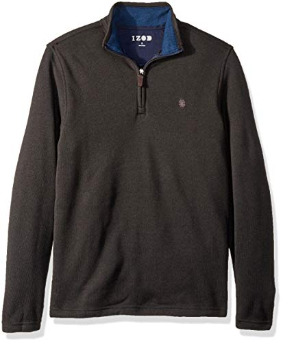 IZOD Men's Spectator 1/4 Zip Sweater Fleece, Black Heather, Large ()
