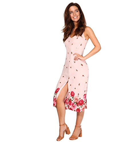 Button Strappy Women Dress Sundress KRISP Neck V Ladies Slip Floral Pink Front Midi Summer zW4Fq