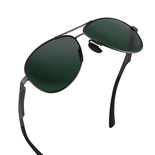 gafas Polarizadas sol Verde 400 Gunmetal Sol Oscuro estuche pañuelo de Aviador Protección Gafas con caso UV y aviador polarizado Plata clásico el Hombre Plata de MPTECK w7vxISUgqc