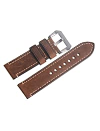 Genuine Leather Brown 24mm Wristwatch Watch Strap Band Watchband with Silvery Buckle