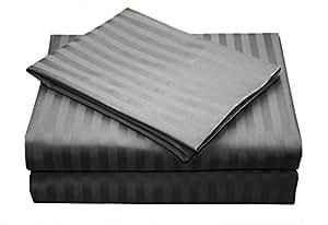 bedding- egipcio de 400hilos 6pc juego de funda nórdica + bajera Sheettt UK individual gris oscuro diseño a rayas 100% algodón egipcio