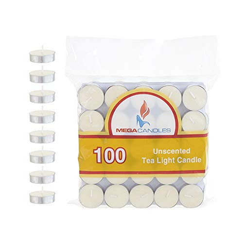 Mega Candles 100 pcs Unscented Ivory Tea Lights Candle | Pressed Wax Candles 3.5 Hour Burn Time | for Home Décor, Wedding Receptions, Baby Showers, Birthdays, Celebrations, Party Favors & More