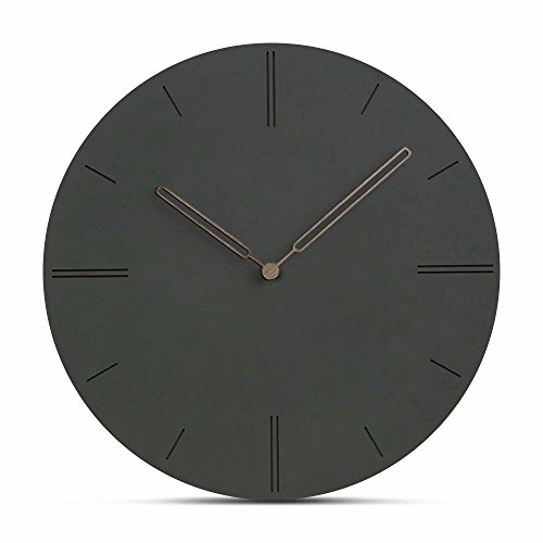 Jpettie Black Large Wall Clocks, 12″ Silent Mute Quartz Decorative Wall Clock, Concise Modern Design Wall Clock Battery Operated – Living Room Kitchen Home